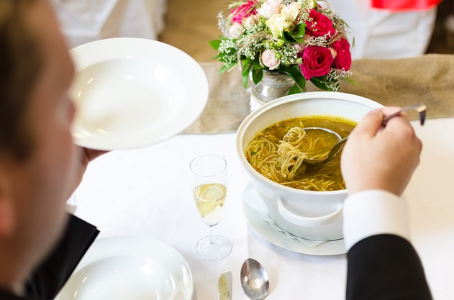 Bride Groom Soup Eating Marriage Wedding Dress