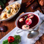 traditional Polish Christmas Eve borscht with dumplings